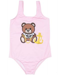 Moschino Kid-Teen Pink Teddy Bear Anchor Logo Swimsuit