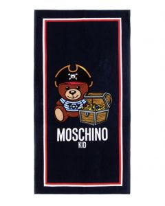 Moschino Kid-Teen Blue Teddy Logo Pirate Towel (149cm)