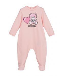 Moschino Baby Pink Teddy Heart Babygrow