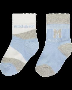 Mitch & Son Blue Cotton Aiden Socks (2 Pack)