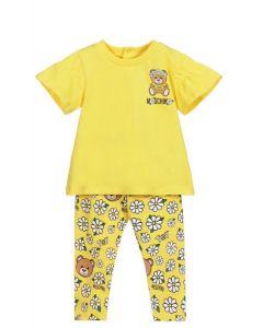 Moschino Baby Yellow Daisy Teddy Leggings Set