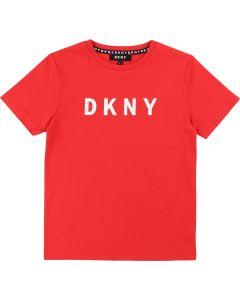 DKNY Red Cotton Logo T-Shirt