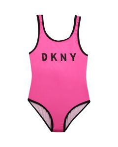 DKNY Girls Neon Pink  Logo Swimsuit