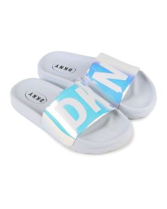 DKNY White Iridescent Logo Sliders