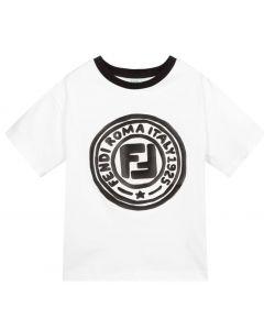 Fendi White & Black Cotton Stamp Logo T-Shirt