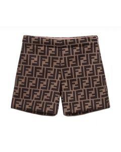 Fendi Girls Brown FF Logo Shorts
