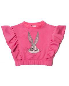 Monnalisa Pink Cotton Bugs Bunny Frill Sweatshirt