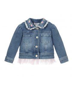 Monnalisa Blue & Pink Denim Jacket