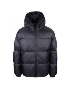 Emporio Armani Boys Navy Velvet Logo Puffer Jacket