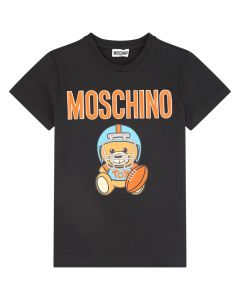 Moschino Kid-Teen Boys Black Baseball Toy Cotton T-Shirt