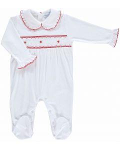 Mini-La-Mode Girls Rose Smocked Fine Knit Babygrow