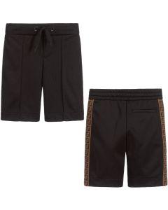 Fendi Boys Black FF Logo Shorts
