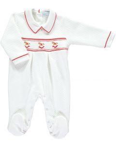 Mini-La-Mode Rocking Horse Smocked Jacquard White and Red Babygro