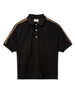 Fendi Boys Black Cotton FF Logo Tape Polo Shirt