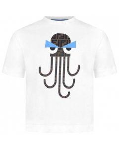 FENDI White Cotton FF Octopus T-Shirt