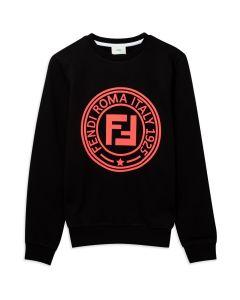 FENDI Girls Black Neon Pink Stamp Logo Sweatshirt