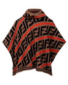 Fendi Hooded Brown FF Poncho