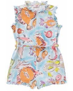 Il Gufo Girls Sea Print Playsuit