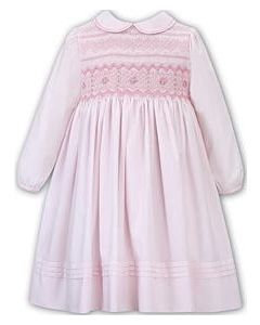Sarah Louise Girls Pink Traditional Long Sleeved Hand-Smocked Dress