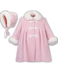 Sarah Louise Girls Pink Faux Fur Trim Coat and Hat Set