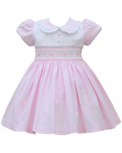 Pretty Originals Pink Hand Smocked Lace Collar Dress Set