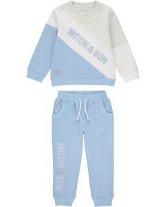 Mitch & Son Boys Pale Blue and Grey  Jersey James Tracksuit