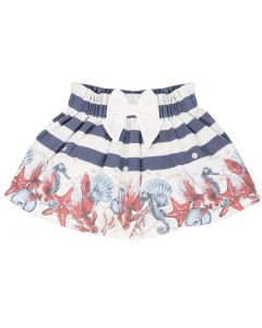 Everything Must Change White and Navy Seashell Cotton Skirt
