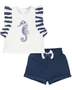 Everything Must Change White and Navy Seahorse Cotton Shorts Set