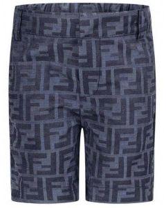 Fendi Boys Navy Blue Silk FF Shorts