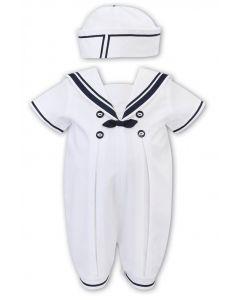 Sarah Louise White and Navy Blue Sailor Suit Shortie Set