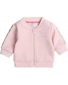 BOSS Baby Girls Pink Taped Zip-Up Top