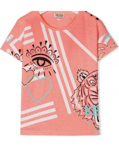 Kenzo Kids Girls Neon Pink Cali Party T-Shirt