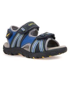 Geox Boy's Strada Navy and Yellow Sandal