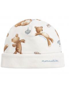 Monnalisa Ivory Teddy Bear Baby Hat