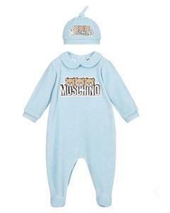 Moschino Baby Blue Teddy Logo Babygrow Set