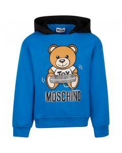Moschino Kid-Teen Gamer Blue Cotton Hoodie