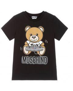 Moschino Kid-Teen Black Teddy Logo Gamer T-Shirt