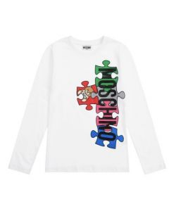 Moschino Kid-Teen White Cotton Puzzle Logo Top