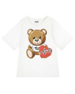 Moschino Kid-Teen Girls Ivory Teddy Logo Heart Box T-Shirt
