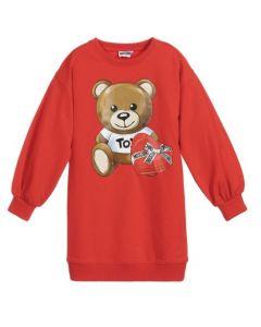 Moschino Kid-Teen Red Teddy Sweatshirt Dress