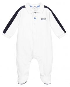 BOSS Kidswear White Velour Logo Babygrow