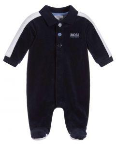 BOSS Kidswear Navy Blue Velour Babygrow