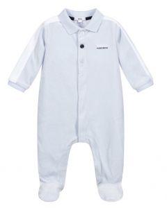 BOSS Kidswear Pale Blue Velour Logo Babygrow