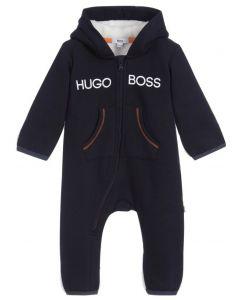 BOSS Kidswear Navy Blue Cotton Fleecy Lined Logo Babysuit