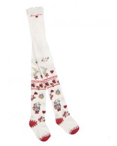 Monnalisa Ivory & Red Cotton Tights