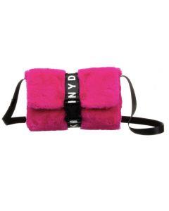 DKNY Pink Faux Fur Logo Bag (27cm)