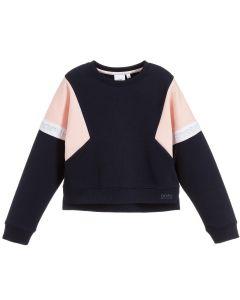 BOSS Girls Blue & Pink Cropped Sweatshirt