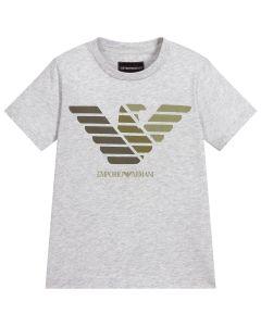 Emporio Armani Boys Grey Cotton Eagle Logo T-Shirt