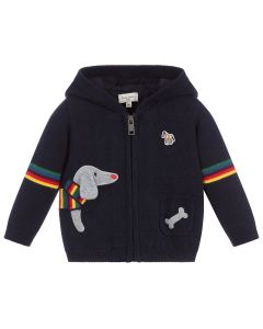 Paul Smith Junior Blue Knitted Dog Motif Cotton Zip-Up