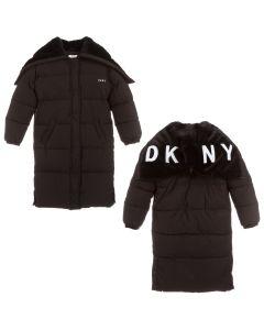 DKNY Girls Black Padded Long Parka